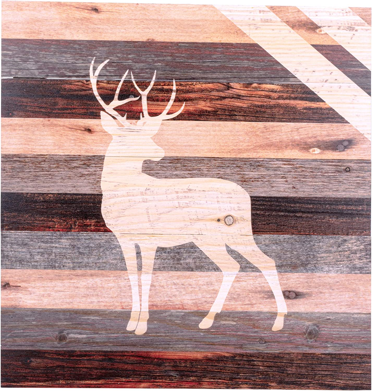Amazon Com Standing Buck Deer Rustic 18 X 17 Wood Pallet Wall Art Sign Plaque Everything Else