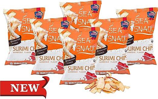 Chips de Surimi - Barbacoa (6 x 25g) MSDM Sea Snack con 47 ...