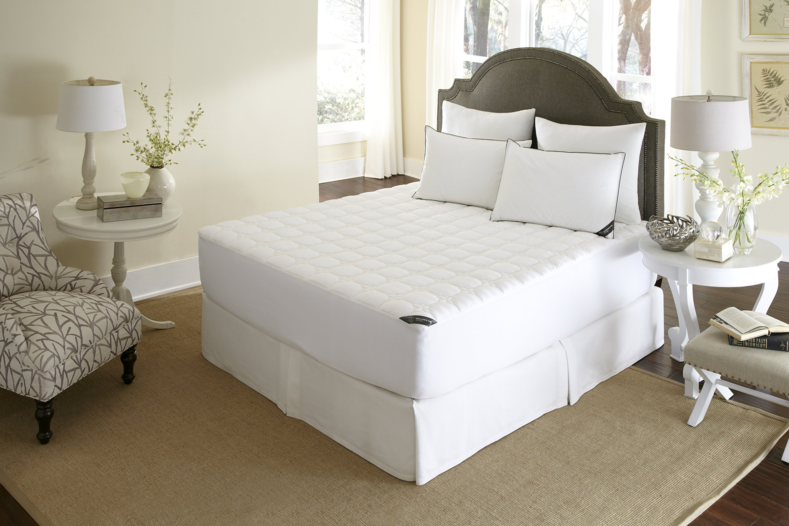 Behrens of England MP-108-6Q European Hotel 100% Cotton 500 Thread Count Waterproof Mattress Pad, Deep Skirt Full Protections, Stain Resistance, Anti-Bacterial and Hypoallergenic, Queen, White
