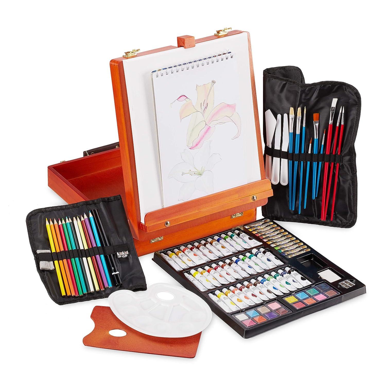 Farben Set Acryl klappbare Tischstaffelei 74-teiliges Malset orange Relaxdays Malkoffer K/ünstlerkoffer aus Holz /Öl
