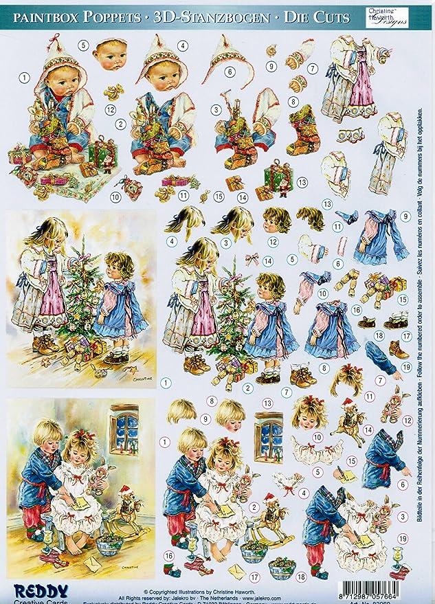 A4 Die Cut Dufex Decoupage Sheet Paintbox Poppets Christmas Various Designs