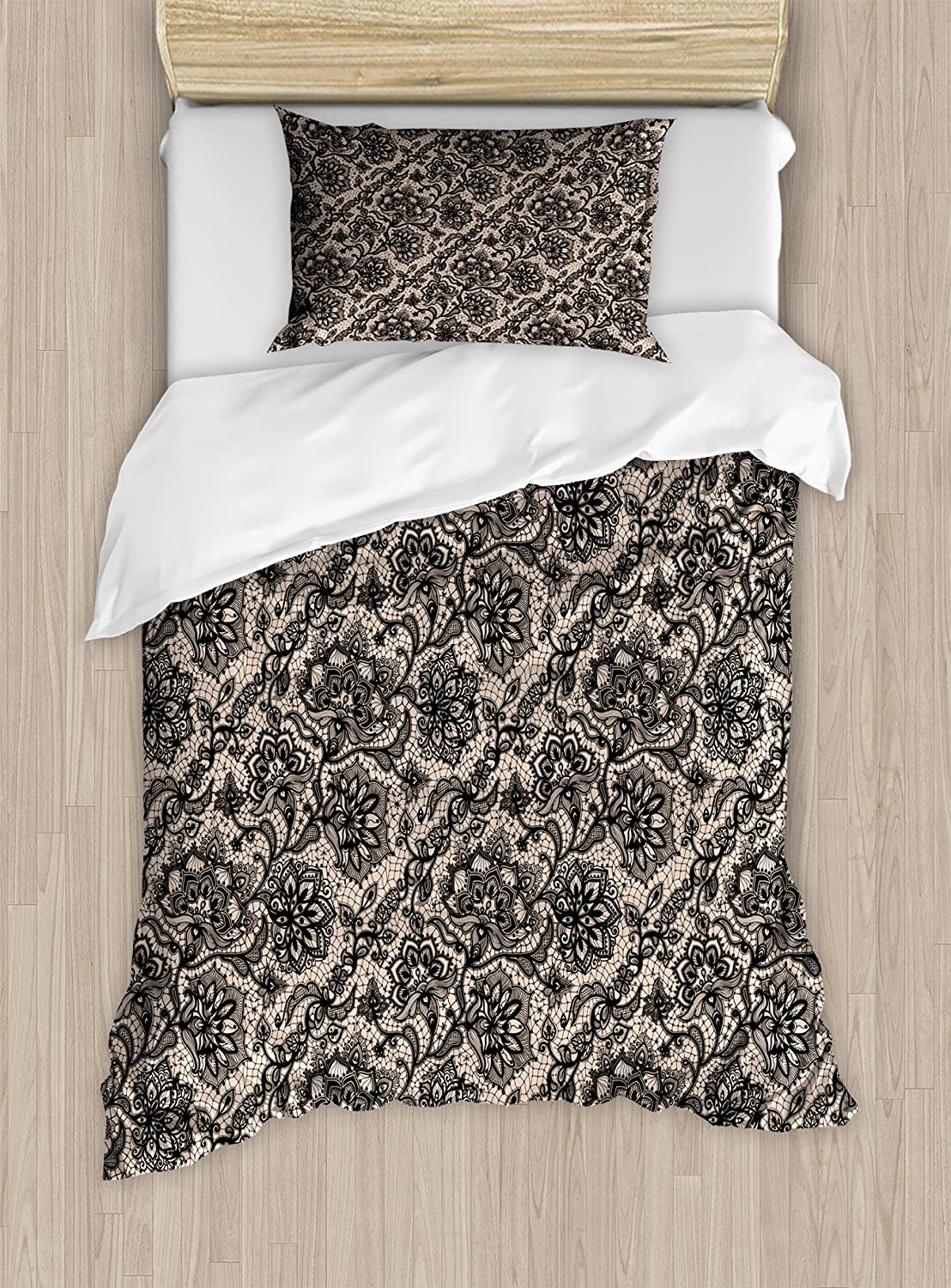 Ambesonne Gothic Duvet Cover Set, Abstract Graphic Lace Pattern with Flowers Butterflies Old Fashioned Nature Inspired, Decorative 2 Piece Bedding Set with 1 Pillow Sham, Twin Size, Black Tan