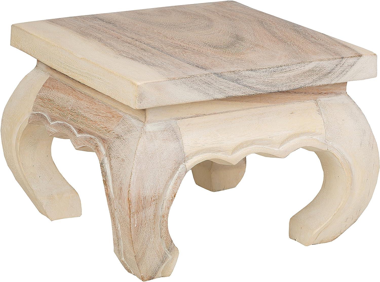 Blanc vieilli Medium Table opium en bois d/'acacia Bois fabrication /à la main