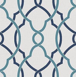Papel pintado con diseño geométrico Sausalito Lattice, de la marca BHF, FD22627, azul marino,…