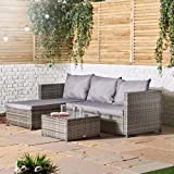 VonHaus Rattan Corner Sofa Set – Large Conservatory, Garden, Patio Set With Cushions, Armrests & Glass Top Coffee Table