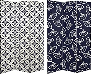 ORIENTAL Furniture 6 ft. Tall Double Sided Osaka Japanese Patterns Canvas Room Divider, Navy/White