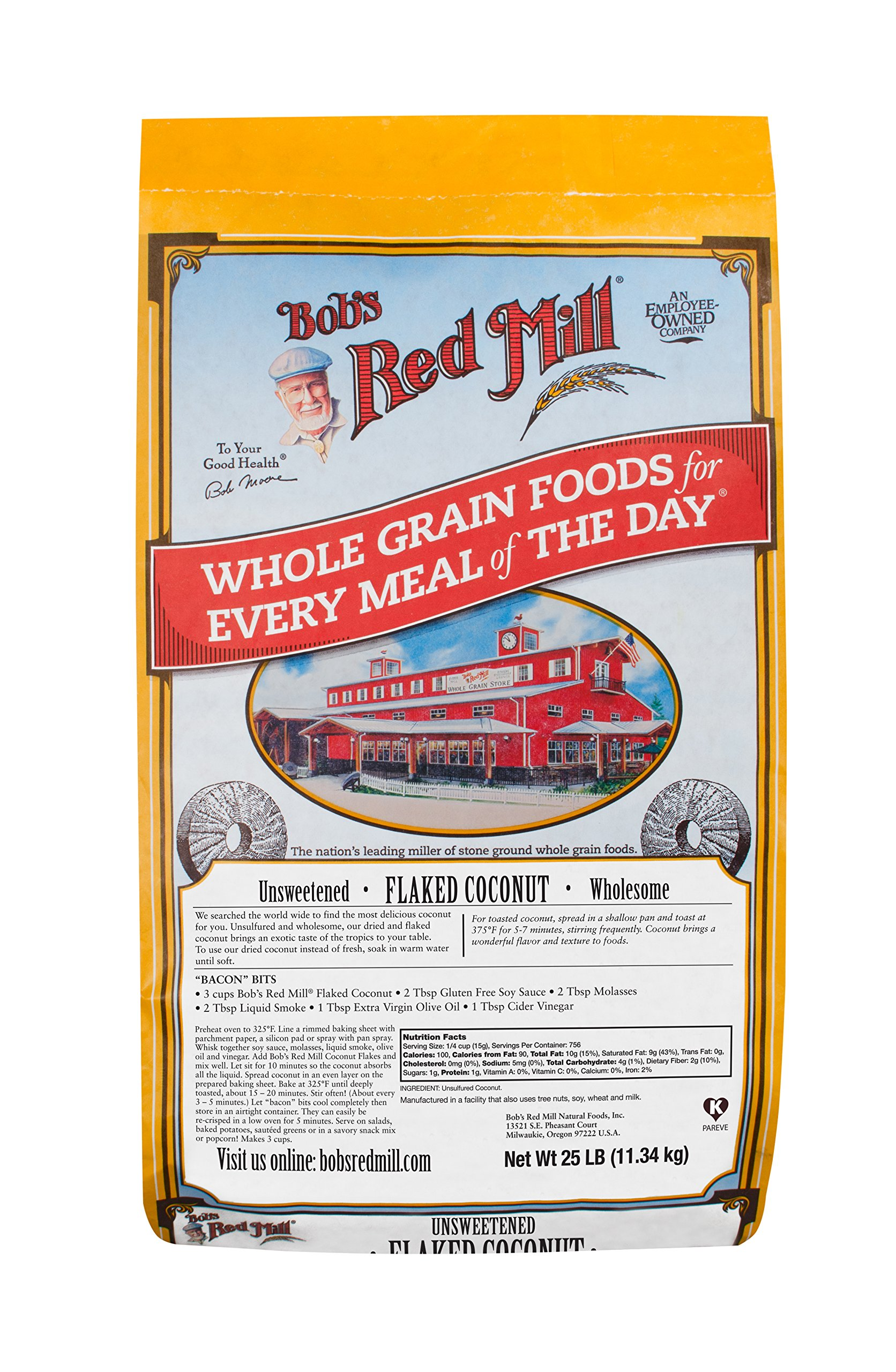 Bob's Red Mill Flaked Unsweetened Coconut, 25 Pound