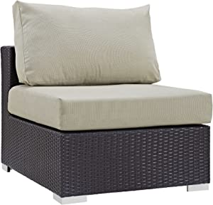 Modway Convene Wicker Rattan Outdoor Patio Sectional Sofa Armless Chair in Espresso Beige