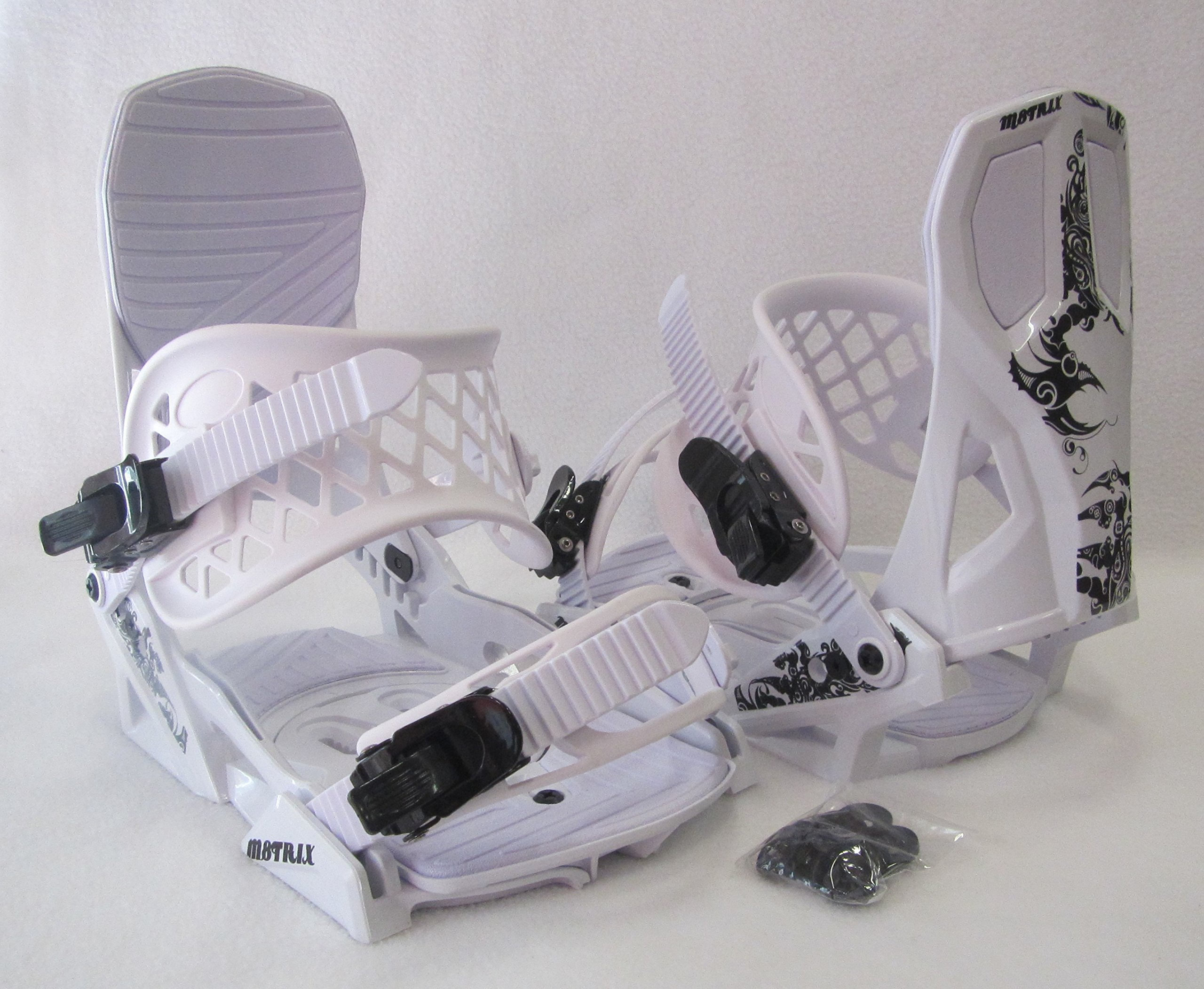 MEN'S M8TRIX SNOWBOARD BINDINGS (4X4 PATTERN) LARGE BOOT SIZES: 10-12 (WHITE/BLACK) by M8TRIX