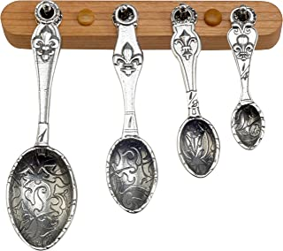 product image for Crosby & Taylor Fleur de Lys Pewter Measuring Spoon Set on Cherry Wood Display Strip