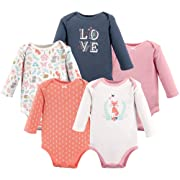 Hudson Baby Unisex Baby Long Sleeve Cotton Bodysuits, Woodland Fox Long Sleeve 5 Pack, 0-3 Months (3M)
