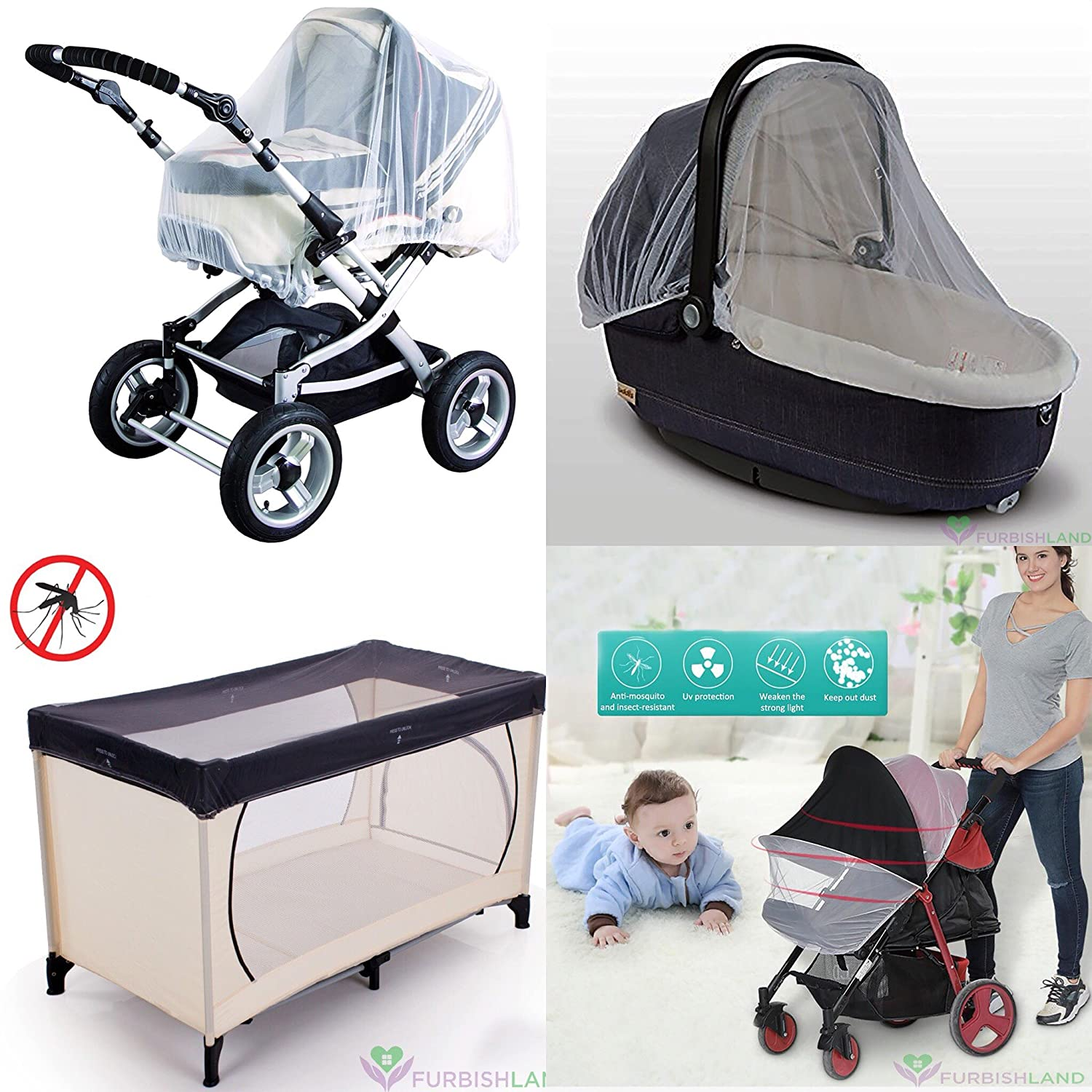 Prams Pram Net Pram Insect Nets Tinabless Universal Mosquito Net for Pushchair Buggy and Carrycot White