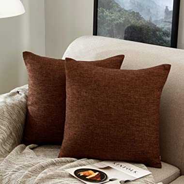 MERNETTE Pack of 2, Cotton Linen Blend Decorative Throw Pillow Cover Cushion Covers, Pillowcase Pillow Shams, Pillows Shells, for Sofa Bedroom Car Chair 18x18 Inch/45x45 cm (Dark Brown)