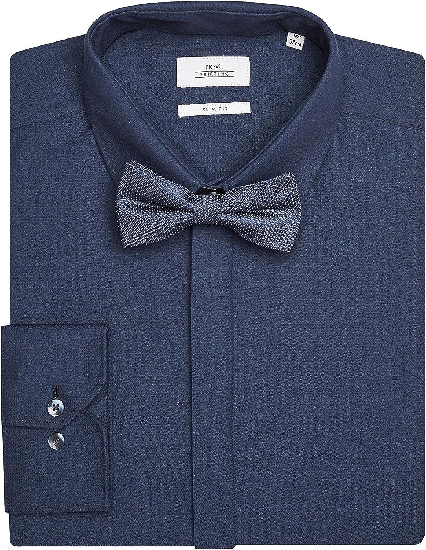 next Hombre Conjunto De Camisa De Vestir Entallada Y Pajarita Azul: Amazon.es: Ropa y accesorios