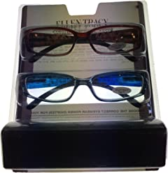 Ellen Tracy Rectangle Plastic Reading Glass. ETR 3041 Brown Blue 2.0