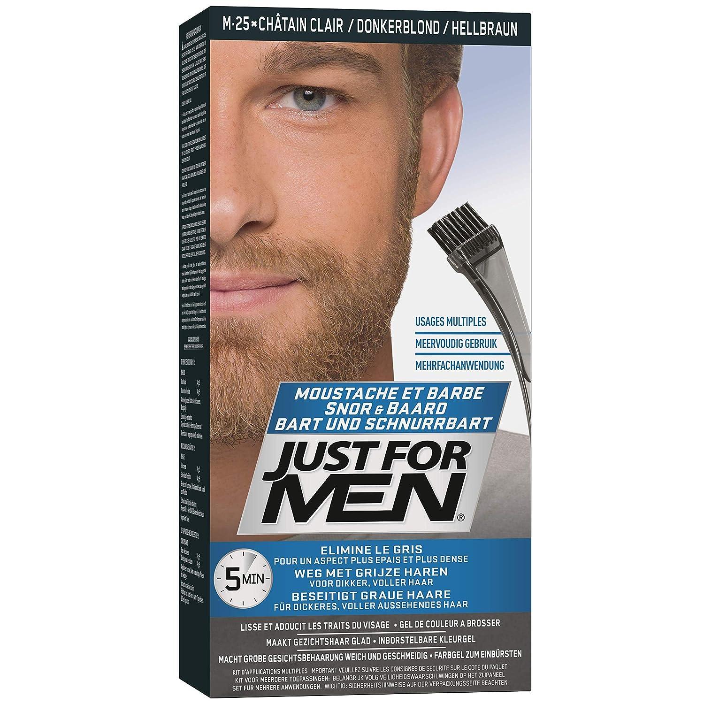 JUST FOR MEN Brush-In Color Gel, Mustache & Beard M-25 Light Brown 1 Each