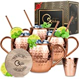 Moscow Mule Copper Mugs Set : 4 16 oz. Solid Genuine Copper Mugs Handmade in India, 4 Straws, 4 Wood Coasters, & Shot Glass : Comes in Elegant Gift Box, by Qualikitchen