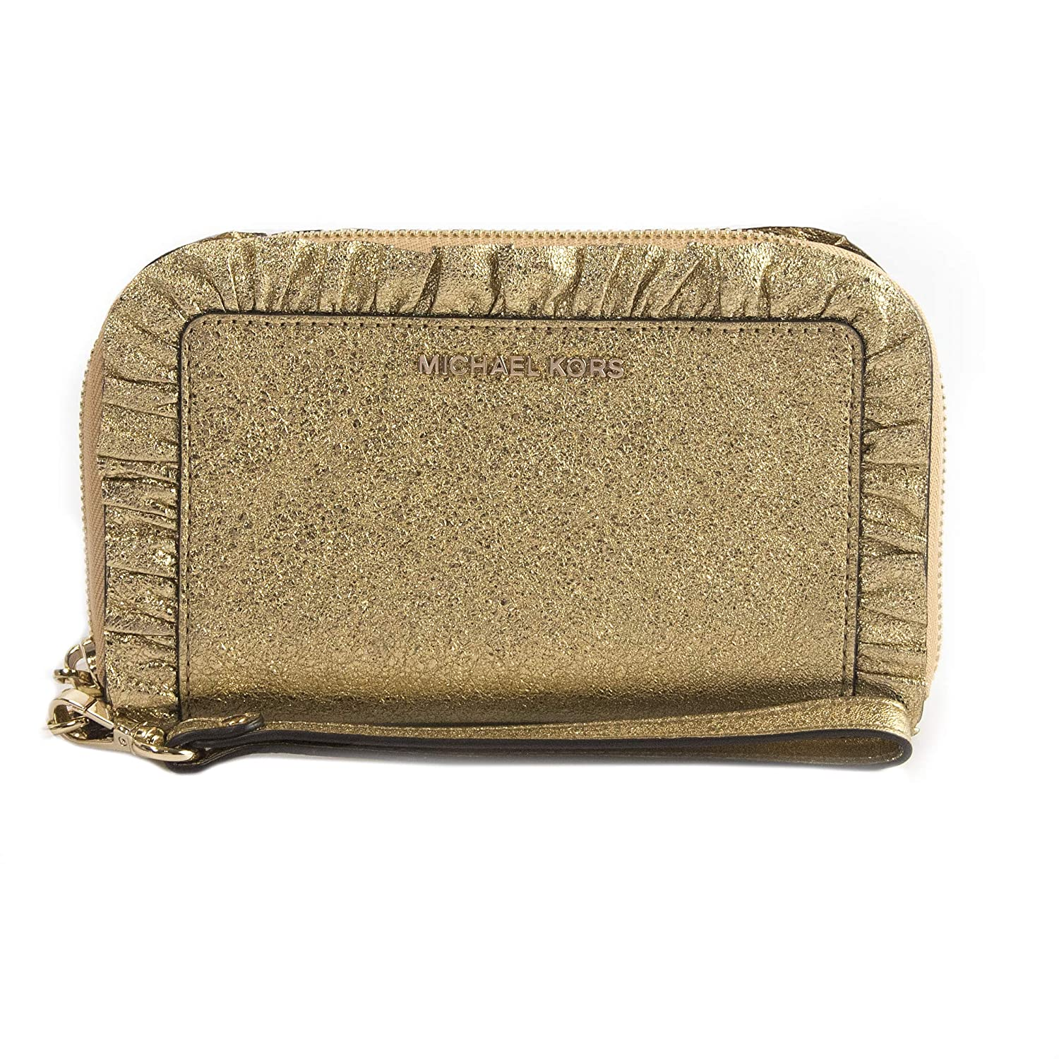 35e227f44ab17 Amazon.com  Michael Kors Jet Set Ruffled Gold Metallic Leather Phone  Wristlet Wallet  DesignHer Boutique