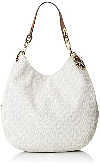 53bb81b615ec85 Michael Kors Fulton Large Leather Shoulder Bag - Vanilla - 30S7GFTL3B-150