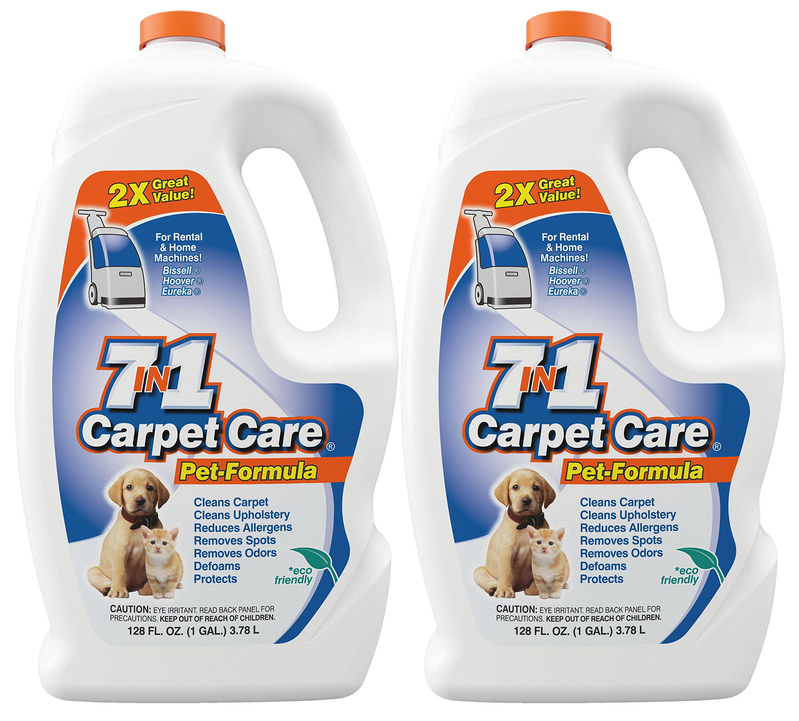 7in1 Carpet Care Pet Formula Carpet Cleaning Solution-Works in all Carpet Cleaning Machines-One case of two one gallon bottles