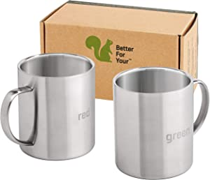 Stainless Steel Coffee Mugs - Premium Wider Handle 'RED' & 'GREEN' Laser Engraved 13.5 oz Double Walled Cups - Great For Home Camping RV or Gift (Dishwasher Safe Set of 2)