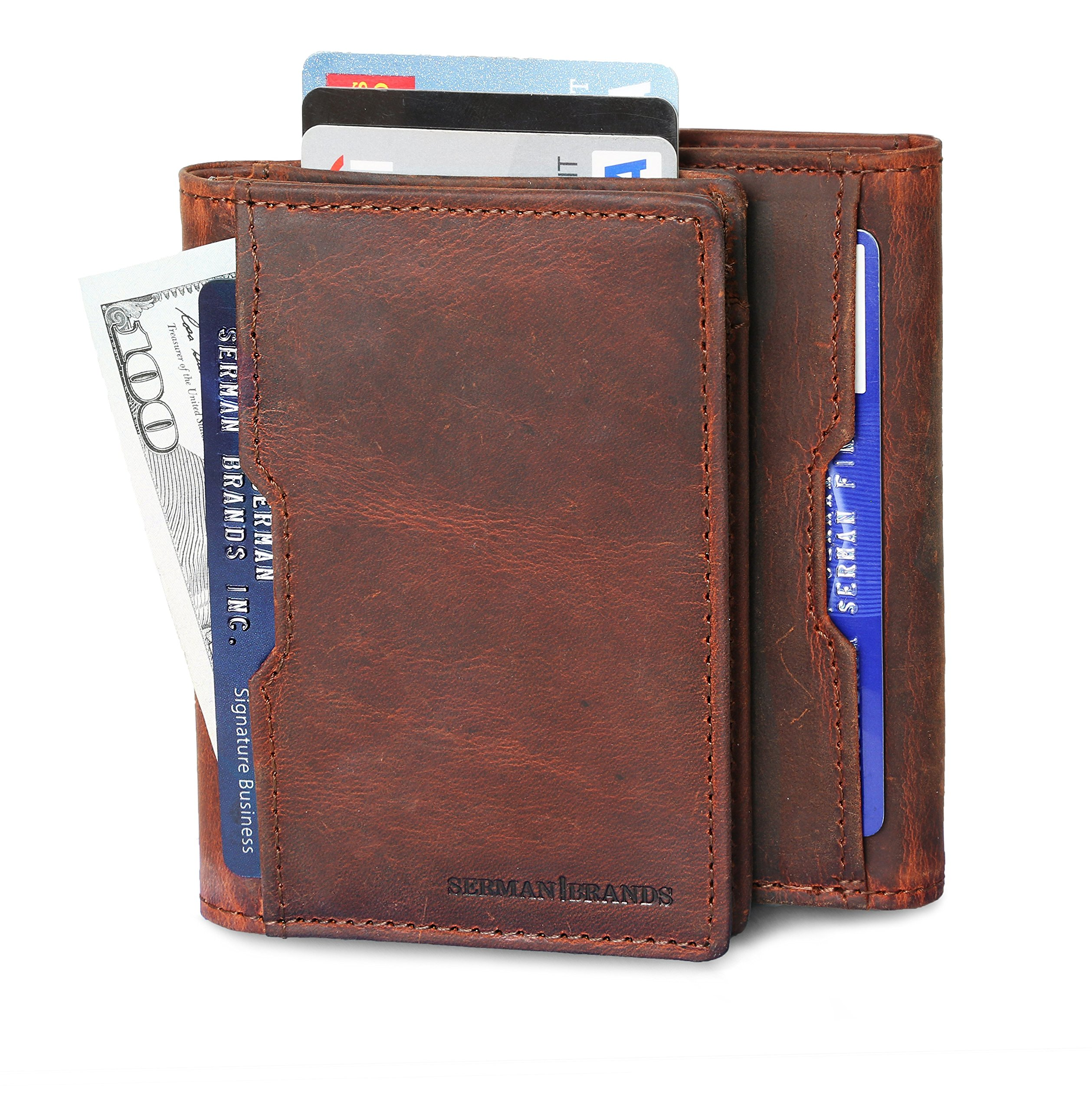 Wallets for Men Slim Mens leather RFID Blocking Minimalist Card Front Pocket Bifold Travel Thin (Canyon Red 5.S)