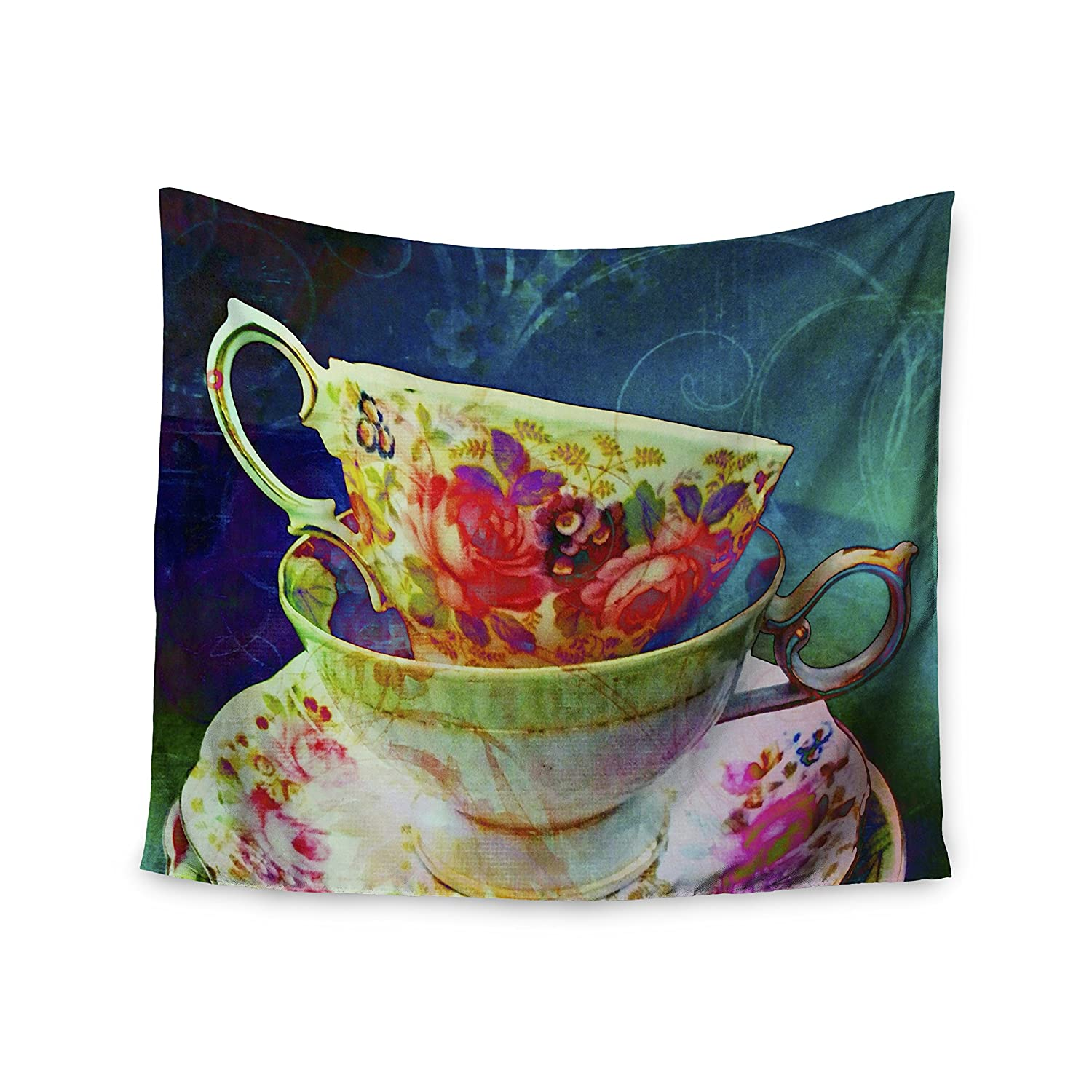 Kess InHouse Alyzen Moonshadow Mad Hatters T-Party V Yellow Green Wall Tapestry 68 X 80