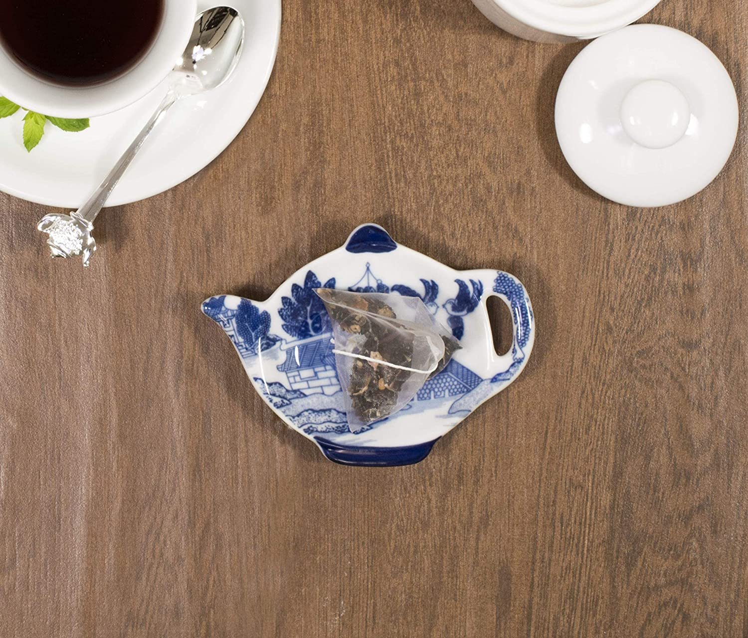 3.5-Inches Fine-Quality Porcelain HIC Blue Willow Tea Bag Holder Caddy