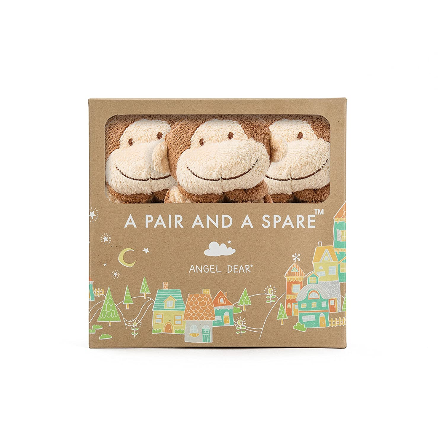 Angel Dear Pair and a Spare 3 Piece Blanket Set Brown Monkey