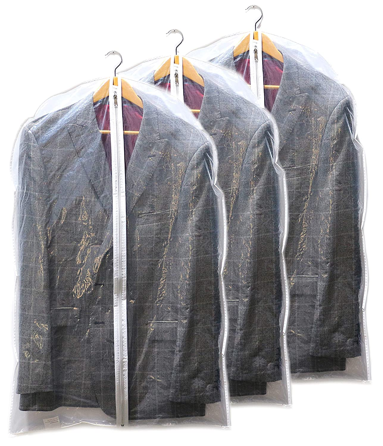 Suit Cover Garment Bags, Shirt Covers, Pack of 3, Clear, Clothes Bags, Shower Proof with Large Zip Opening Clay Roberts