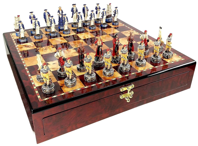 激安正規品 Pirates & Vs B01NAWASBS Royal Navy Pirate Chess Set W/ Gloss High Gloss Cherry & Burlwood Color Storage Board 17