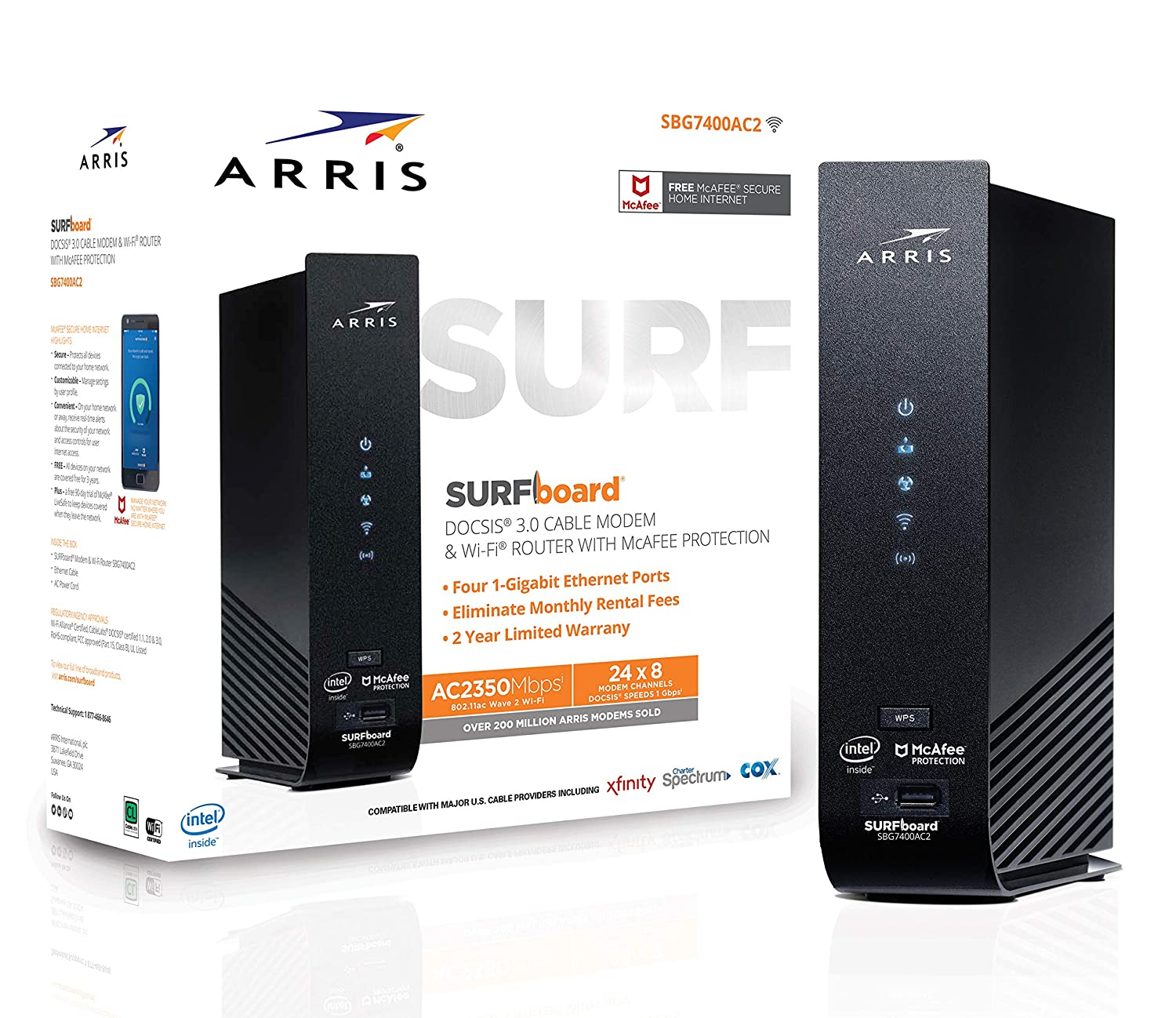 ARRIS SURFboard (24x8) DOCSIS 3 0 Cable Modem Plus AC2350 Dual Band Wi-Fi  Router, approved for Cox, Spectrum, Xfinity & more (SBG7400AC2)