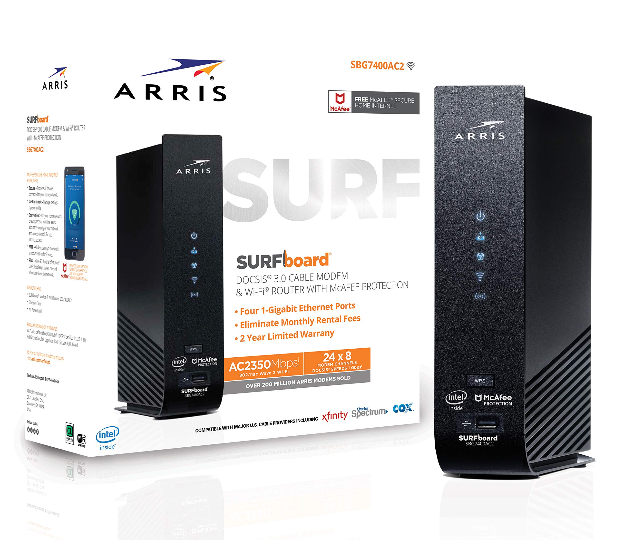 ARRIS SURFboard (24x8) DOCSIS 3.0 Cable Modem Plus AC2350 Dual Band Wi-Fi Router, approved for Cox, Spectrum, Xfinity & more (SBG7400AC2) by ARRIS