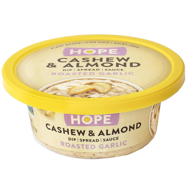 Hope Foods Cashew & Almond Dip, Roasted Garlic, 8 Oz