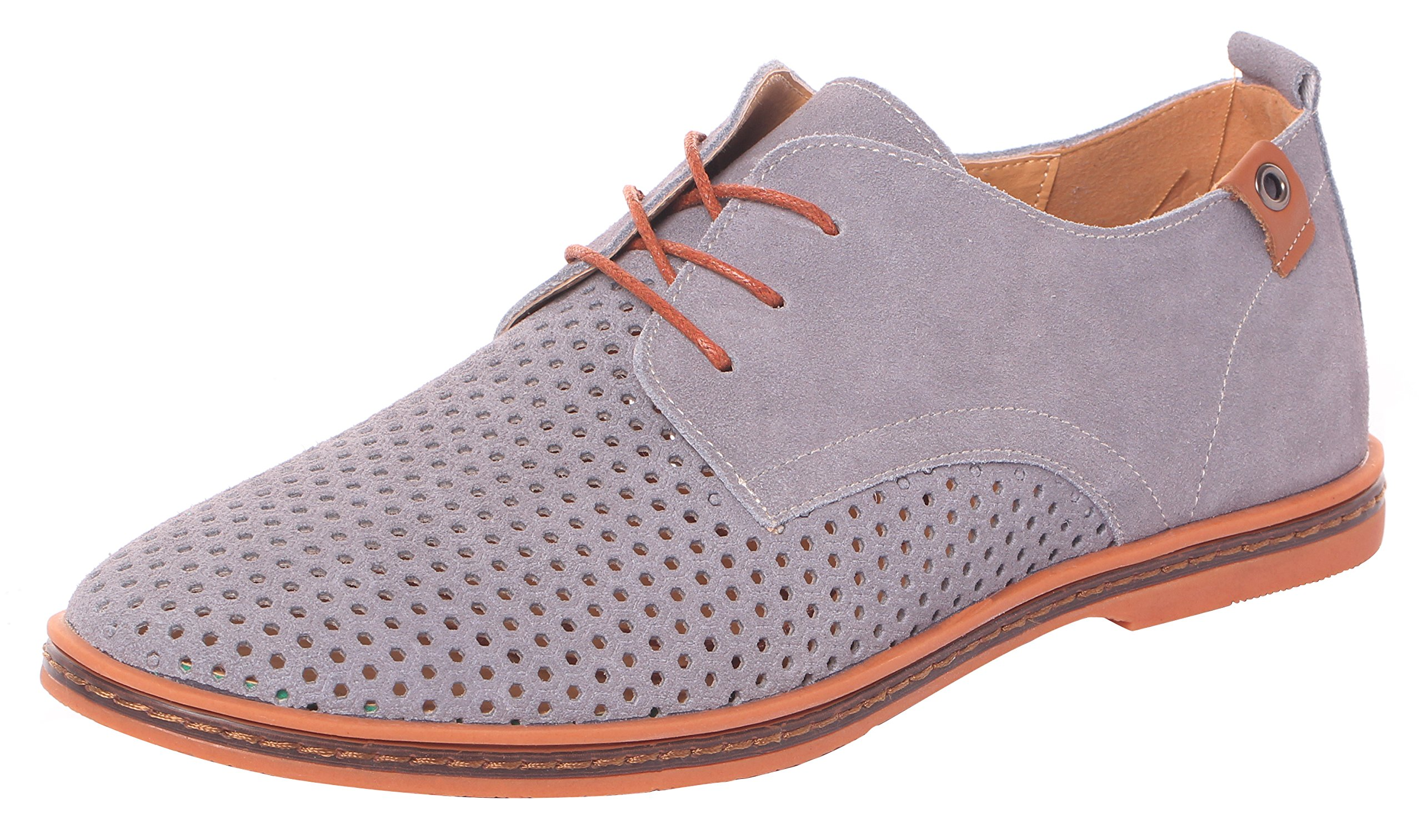 MEWOOCUE Men's Gray Classic Suede Leather Oxford Mesh Breathable Business Casual Shoes - Size 10