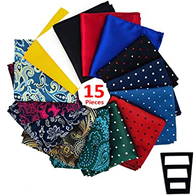 ec77f511b5ec Image Unavailable. Image not available for. Colour: Pocket Squares for men  15 Pack set in Gift Box Assorted colors Polka ...