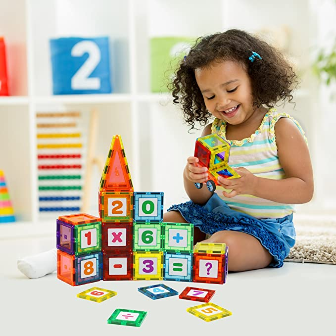 Magnetic Tiles for Kids - 128pcs Magnetic Blocks & Creativity Click-in Number Accessories, Educational 3D Magnet Building Toys Set, Strong Metallic Rivets, Varied Shapes, 2 Wheels & Bag