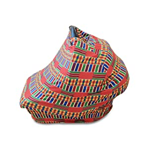 Baby Carseat Nursing Cover Multi-use in Stretchy Breathable African Kente Print (Multi-Color)