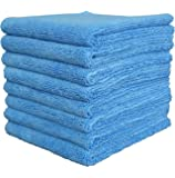 Gryeer Edgeless Microfibre Cleaning Cloths, Dual-side Car Drying Washing Detailing Towels, Super Soft and Thick Auto Buffing Waxing Polishing Towel, 450 GSM, 40 x 40 cm, Pack of 8, Blue