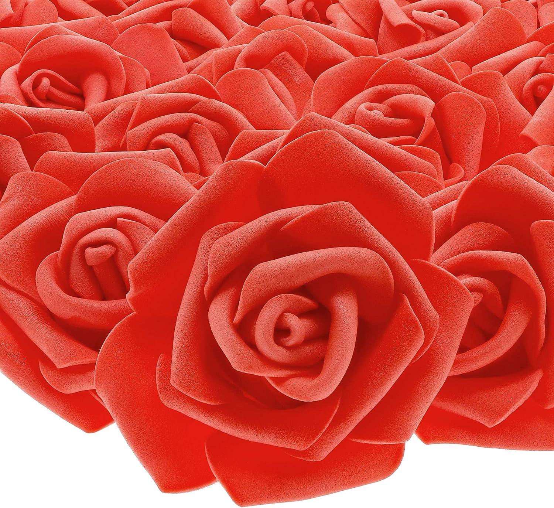 Juvale Rose Flores Cabezales – 100 Unidades Rosas Artificiales, decoración de Bodas, Baby Showers, Manualidades – Rojo, 3 x 1,25 x 3 Pulgadas