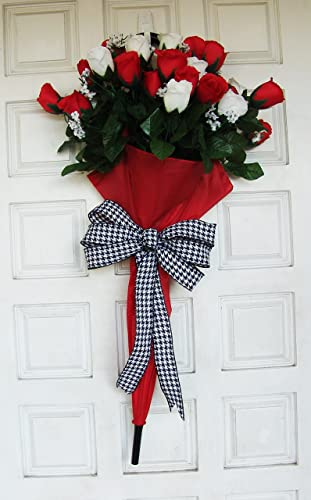 Red White Roses Floral Bouquet Umbrella Front Door Hanger Wreath Valentines Day Decor Easter
