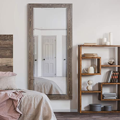 WEXFORD HOME Barnwood Wood Distressed Tonal Walnut Full Length Mirror