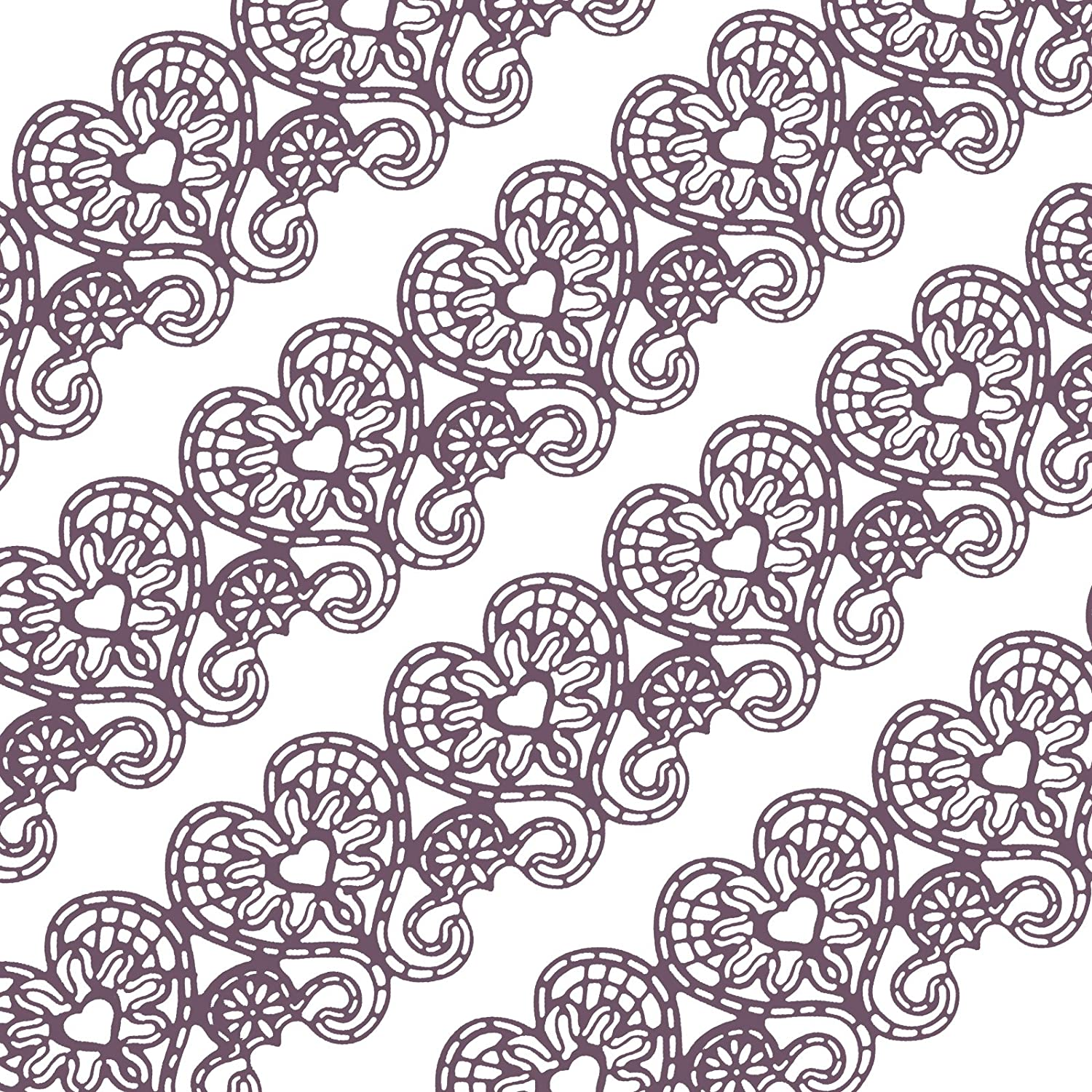 Funshowcase Large Pre-Made Ready to Use Edible Cake Lace Love Heart 14-inch 10-piece Set Purple