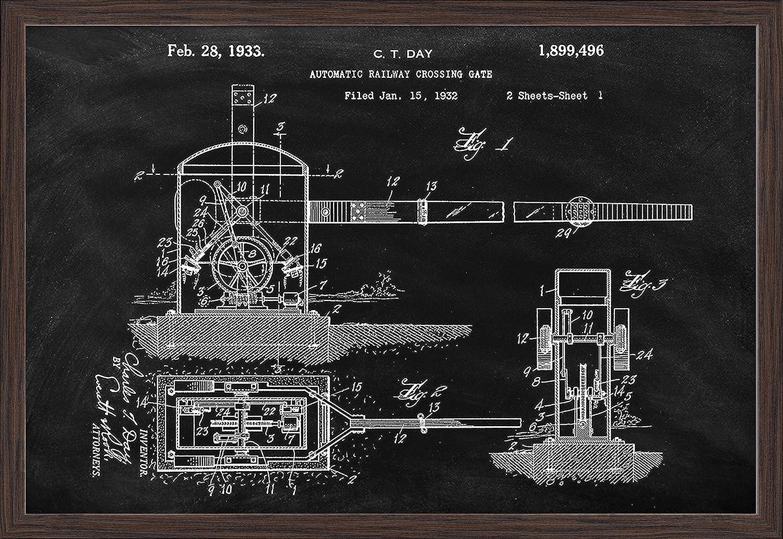 Railroad Crossing 18x12 Giclee Art Print, Gallery Framed, Black Wood Blackboard Patent
