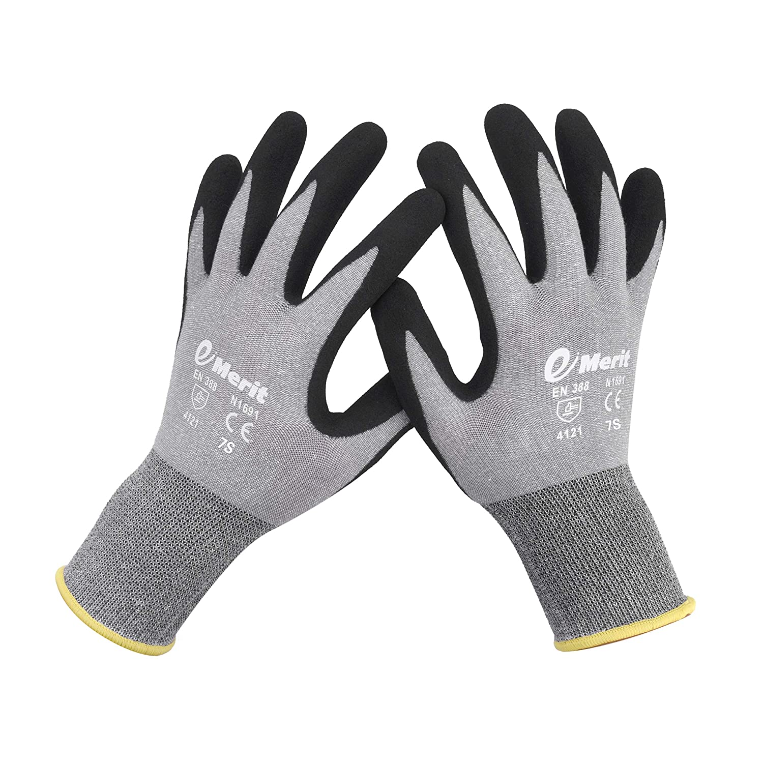 Construction Sandy Nitrile Coated Small,6 Pack eMerit Bamboo Gardening Gloves for Women,Men Outdoor Gloves for Working