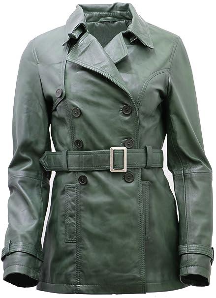 Womens 3/4 Green Ladies Lamb Nappa Leather Trench Coat at Amazon Womens Coats Shop