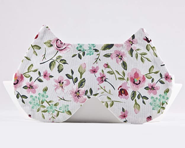 59026822f Image Unavailable. Image not available for. Color  White Floral Comfortable Sleeping  Mask ...