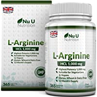 L-Arginine 4000 | 365 Vegetarian and Vegan Tablets | Up to One Year Supply of L Arginine HCL | 1000mg Per Tablet