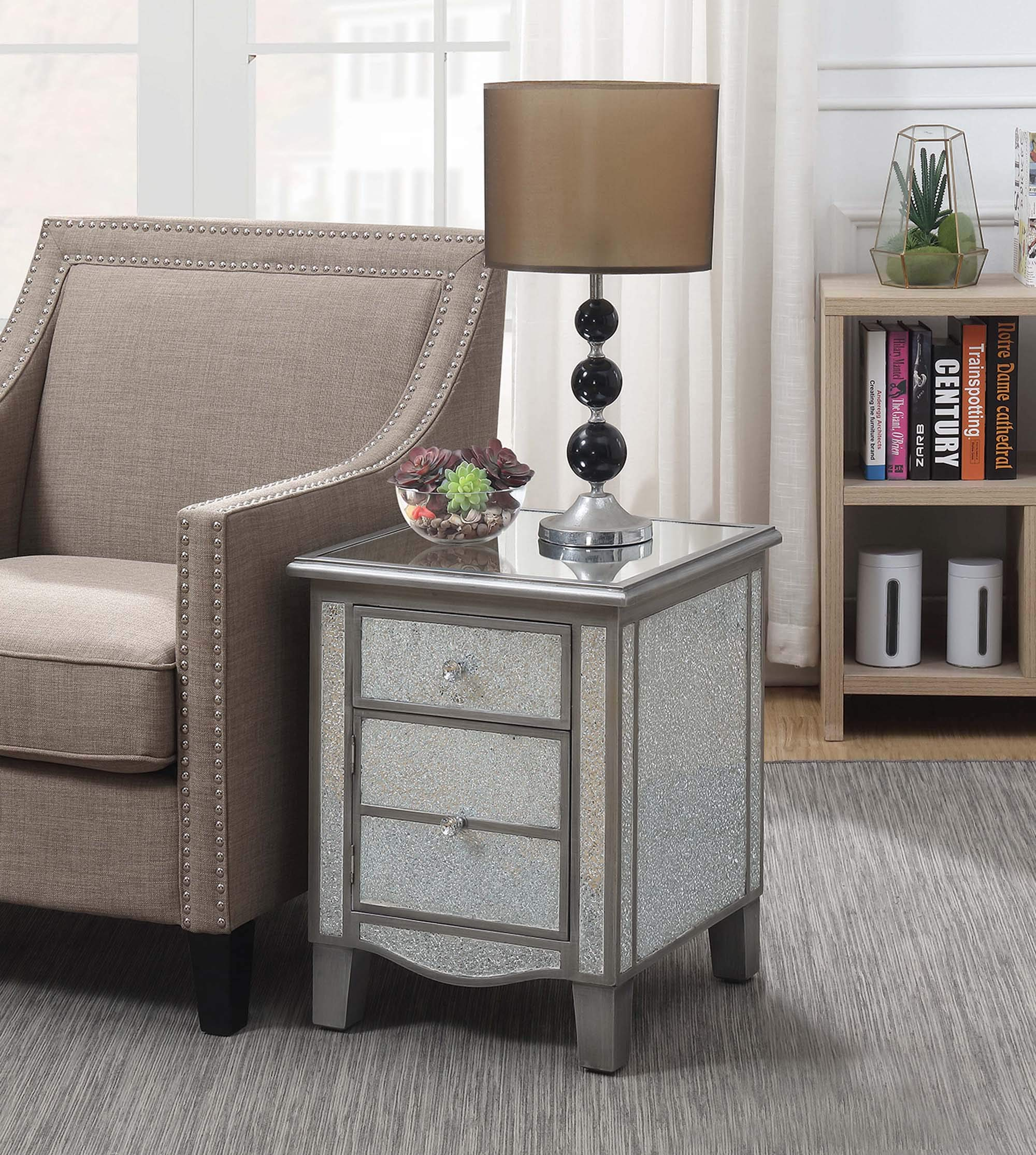 Convenience Concepts 413551SCG Gold Coast Park Lane Mirrored End Table, Silver/Cracked Glass, Antique by Convenience Concepts