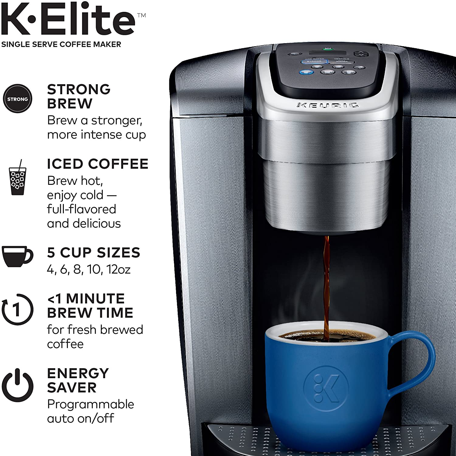 Amazon.com: Keurig K-Elite Coffee Maker, Single Serve K-Cup Pod Coffee Brewer, With Iced Coffee Capability, Brushed Silver: Kitchen & Dining